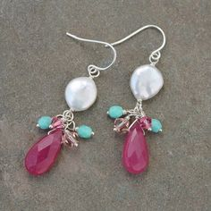 Pink Earrings Turquoise Coin Pearl Swarovski by carrieWdesigns, $28.00 by Jersica