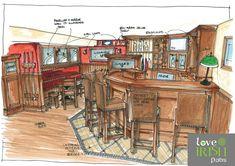 Irish Home Bar Design Sketch by Love irish Pubs. Love your Pub! Pub Interior, Interior Doors, Interior Sketch, Pub Sheds, Basement Bar Designs, Basement Ideas, Home Pub, Pub Design, Home Bar Decor