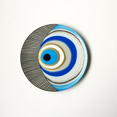 Evil Eye Decor - Decorative Plate - Golden Evil Eye - Golden and Blue - Evil Eye Wall Art - Modern Art - Mandala Decor - Porcelain Art by biancafreitas on Etsy
