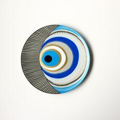 Evil Eye Decor - Decorative Plate - Golden Evil Eye  - Golden and Blue - Evil Eye Wall Art - Modern Art - Mandala Decor - Porcelain Art by biancafreitas on Etsy