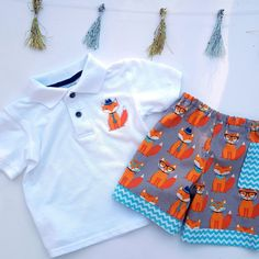 So cute fox polo shirt and shorts set!  Oh my! 😍