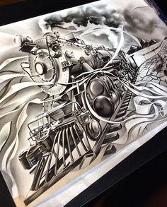 Tattoo Drawing – 75 Picture Ideas – Drawing Ideas and Tutorials Tiger Tattoo Sleeve, Full Sleeve Tattoo Design, Sleeve Tattoos, Chicano Tattoos, Boy Tattoos, Chicano Art, Train Tattoo, Arte Lowrider, Canada Tattoo
