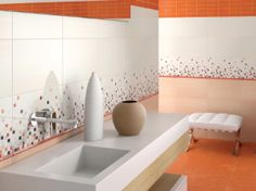 Modern bathroom tiles, check out our Vetro Orange tiles Bad Inspiration, Bathroom Inspiration, Modern Bathroom Tile, Room Tiles, Style Tile, Commercial Design, Tile Design, Kitchen Design, Bathtub