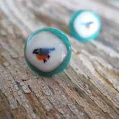 Little Bird Fused Glass Post Earrings in Teal White Blue - Handmade Earrings on Etsy.