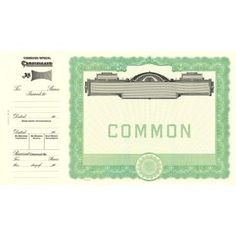 Goes Common Stock Certificate Form Pinterest Common Stock - Common stock certificate template