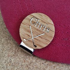 Personalized Wood Golf Ball Marker   Hat Clip - Made from Wood -Dad Gift Man 0f1742f304d8