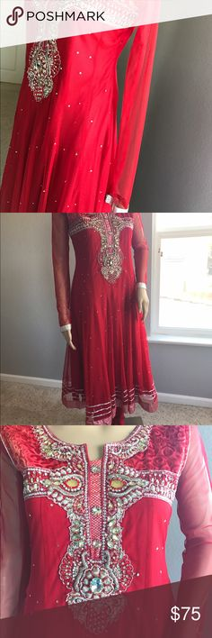 68983015c18b71 Traditional Indian/Pakistani Shalwar Kameez Vivid Red Two-Layered with  Silver Design Mid Leg Length with Skinny Pants Dresses Maxi