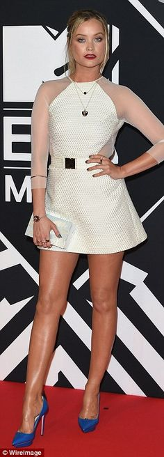 She's got the look: MTV presenter Laura Whitmore was the first to arrive at the 2015 MTV Europe Music Awards, on Sunday evening and put on a very leggy display in a cream mini dress