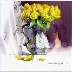 "Fine Art and You: Korean Watercolor Painter ""Shin Jong Sik"" Watercolor Mixing, Gold Watercolor, Watercolor Flowers, Watercolor Paintings, Watercolours, Korean Painting, Academic Art, Art Station, Korean Art"