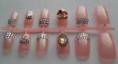 12pc Bling Nails Diamond Pink Nails Major by EasyNailTrends