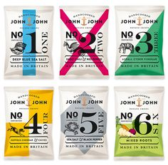 & John Potato Crisps Fun potato chip packaging for John & John Potato Crisps, designed by Hamburg-based Peter Schmidt Group.Fun potato chip packaging for John & John Potato Crisps, designed by Hamburg-based Peter Schmidt Group. Chip Packaging, Food Packaging, Brand Packaging, Glass Packaging, Coffee Packaging, Product Packaging, Design Package, Label Design, Design Design