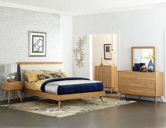 Anika Collection Bedroom Sets 1915-1 Drawing inspiration from Danish mid-century modern design, the Anika Collection is a stylish addition to your bedroom. The curved framing of each case piece is per