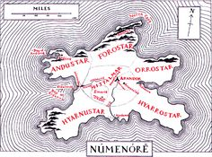 The island of Númenórë, located in the Sundering Seas to the west of Middle-earth. It was the greatest realm of men in the world of Tolkien. Aragorn was the last desendant Númenóreans.