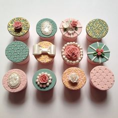 Job done now get to party! Vintage rose themed cupcakes with hand painted gold details!