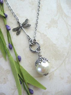 Dragonfly Pearl Necklace in Antiqued Silver on Etsy, $24.00