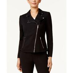 Calvin Klein Crepe Moto Jacket ($140) ❤ liked on Polyvore featuring outerwear, jackets, black, moto jacket, calvin klein jacket, biker jacket, calvin klein and rider jacket