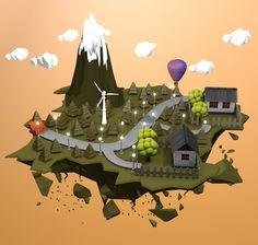 3D Island Low Poly by Mostafa Desha, via Behance