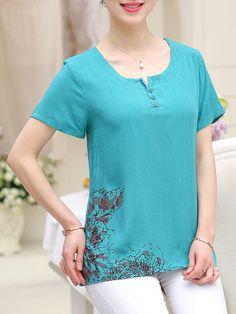 Split Neck Printed Short Sleeve T-Shirt 50s Dresses, Casual Dresses, Shirt Blouses, Shirts, Jean Top, Neck Pattern, Short Tops, Blouse Styles, Shoulder Length