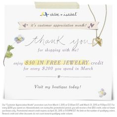 March is Customer Appreciation Month at Chloe + Isabel. Spend $200 and receive a $50 jewelry credit! Also if you order through the link below I will be raffling off the Hostess Rewards as well!   www.chloeandisabel.com/boutique/6d7f7d