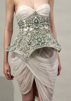 ♛ My Dream WR dress with ivory draping and custom beading corset belt