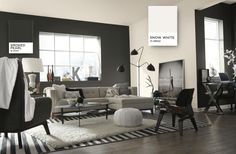 Get inspired by Modern Living Room Design photo by Sherwin-Williams®. Wayfair lets you find the designer products in the photo and get ideas from thousands of other Modern Living Room Design photos. Blush Living Room, Living Room Furniture, Living Room Decor, Black And White Living Room, Room Wall Painting, Contemporary Design, Modern Art, Interior Design, Jojo Fletcher