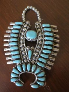 Unusual Navajo pin/pendant in shape of squash blossom necklace, many turquoises! in Jewelry & Watches, Ethnic, Regional & Tribal, Native American | eBay