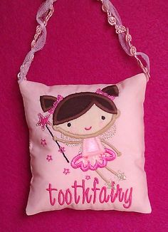 Maybe shaped like the fairy not a square. Tooth Pillow, Tooth Fairy Pillow, Embroidery Applique, Machine Embroidery Designs, Embroidery Patterns, Dental Teeth, Throw Pillows, Christmas Ornaments, Keepsakes