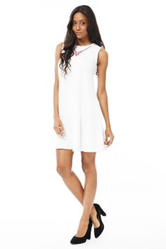 White Swing Dress with Necklace