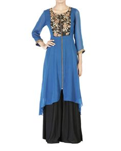 Blue embroidered georgette tunic  |  Shop now: www.thesecretlabel.com