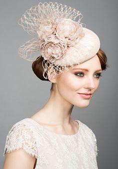 Rachel Trevor Morgan Millinery S/S 2015, R1566 Pavlova silk pillbox with handmade flowers and veil
