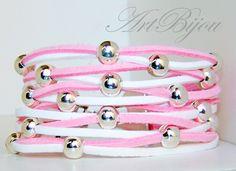Bracelets – Silver Zamak Bracelet, Leather Boho Bracelet, Pink – a unique product by ArtBijou on DaWanda