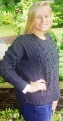 Find this sweater here!  http://www.lizabyrd.com/product/1719/Ladies/Jackets+and+Sweaters/The+Polly+Popcorn+Sweater+in+Charcoal