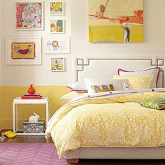 Loving the paint treatment, yellow bedding, and whimsical artwork. And the rug. And the bunny. I love it all. - room from Serena & Lily
