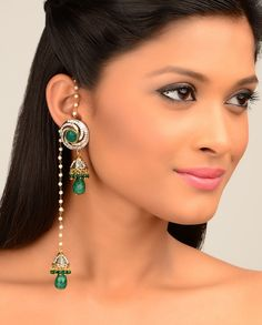 Jhumki Drop Earrings with Green Stones