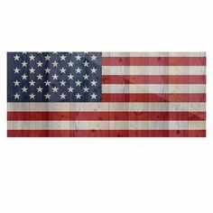 "East Urban Home 'USA Flag On Spruce' Graphic Art Print on Metal Size: 16"" H x 20"" W x 1"" D"