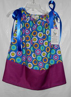 Toddler Girls Pillowcase Dress  Royal Blue and Purple Size 2T - 3T  by VickysCreation, $20.00
