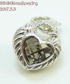 Estate Judith Ripka Sterling Silver 925 Smoky Quartz Heart Charm Pendant #JudithRipka #PendantCharm