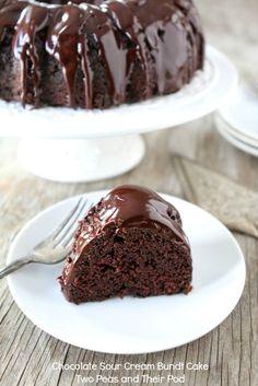 Chocolate Sour Cream Bundt Cake from www.twopeasandtheirpod.com The most amazing chocolate cake!