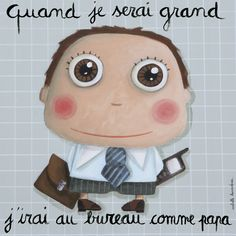 Such cute prints for a nursery. Cuando Sea Grande, Baby Education, When I Grow Up, Baby Art, Tooth Fairy, Learn French, Illustrations, Cute Illustration, Portrait Art