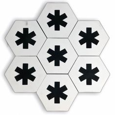 Cruz-(cement tile)-white hex tiles-patterned tiles Could use them as a single line amongst plainer tiles. Hex Tile, Cement Tiles, Black Cement, Encaustic Tile, Starling, White Tiles, Cross Designs, Tile Patterns, Interior And Exterior