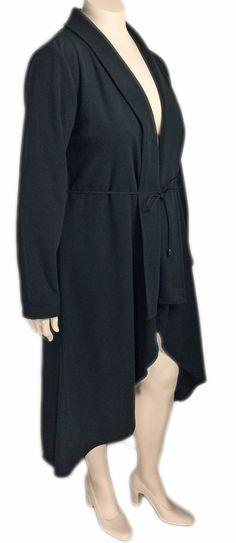 Dorin Frankfurt Black Fleece High Low Coat - Fits Plus Sizes!