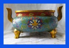 bronce Cloisonne del oro hermoso dos cuatro pies quemador incienso incensario copper decoration bronze factory Pure Brass