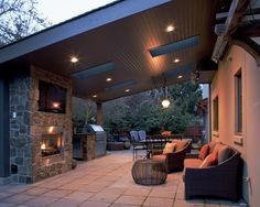 Slanted roof covered patio