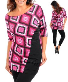 MAGENTA PINK BLACK ABSTRACT TOP PLUS SIZE WOMEN'S CLOTHING TUNIC SHIRT 1XL 42"