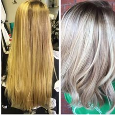 """Hannah Stephens (@hannahstephenss), salon manager of Salon24, Conway, South Carolina, wows us with this lovely transformation. Here she shares the details: Step 1: After removing 6 inches, balayage with Keratin Complex """"It's a Blonde Thing"""" with 20 volume developer, Process for 20 minutes and then rinse. Shampoo with Keratin Complex Purple Shampoo. Step 2: Paint a shadow root with Keratin Demi Glaze 7N."""