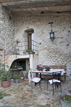 French stone home....outside entertaining area