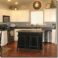White Kitchen Cabinets & Black Island - traditional - kitchen - other metro - Camie Painting Kitchen Cabinets White, Kitchen Wall Colors, Kitchen Cabinetry, White Cabinets, Kitchen Redo, Kitchen Remodel, Kitchen Ideas, Kitchen White, Kitchen Makeovers
