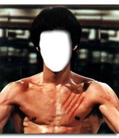 #Fotomontaje con un personaje de leyenda. Elige una cara para poner en el cuerpo de #Bruce #Lee, sin camiseta, sacando #músculo. Se ven pintados cuatro arañazos, que por lo ligeros se suponen hechos con las uñas y no con garras. #ejercicio #fitness www.fotoefectos.com