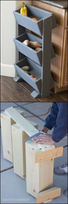 This DIY produce stand is an efficient and stylish storage system you can add to your kitchen. To help you increase your kitchen storage space, we've hand picked these simple kitchen storage ideas: ht (Diy Storage Ideas) Small Kitchen Storage, Kitchen Storage Solutions, Kitchen Cabinet Storage, Kitchen Small, Bathroom Storage, Country Kitchen, Storage Cabinets, Small Bathroom, Small Storage