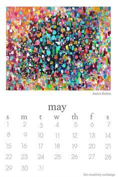 2016 free printable artist collaboration calendar. May is artist Amira Rahim.